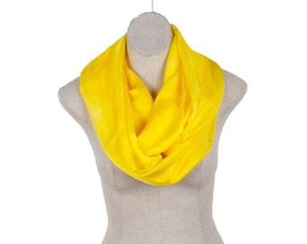 Infinity yellow silk scarf for women/ lemon yellow silk loop scarf/  lemon yellow circle silk scarf/ spring silk circle scarf