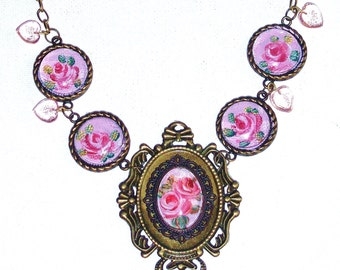 Victorian Pink Rose Necklace Hand Painted Vintage Style Boho Romantic Jewelry FREE SHIPPING