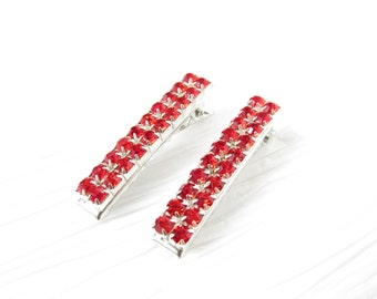 Ruby Red Crystal Hair Clips; Red Crystal Barrettes; Hair Accessories; Prom; Bridal Hair; Red Wedding Jewelry; Handmade; Alligator Clip