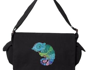 Karma Chameleon Embroidered Canvas Cotton Messenger Bag