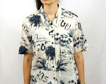 Vintage 90s Shirt Palm Tree Summer Beige White Black Etching Unisex Men M