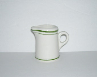 Vintage Green Stripe Restaurant Ware Individual Small Creamer
