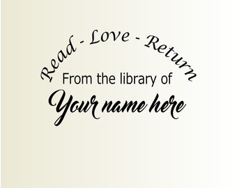 Custom library stamp, From the library of stamp, Personalized stamp, Teachers stamp, Book marking stamp 2x3 inches - Read, love, return, L1