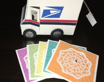 Set of 5 Blank Cards in USPS Truck