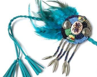 Turquoise Feather Headdress, Native American Headdress, Feather Headband, Feather Fascinator, Warrior, Tribal, Boho, Hippie, Gypsy, Blue