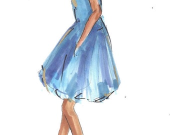 Fashion Illustration Print, Something Blue