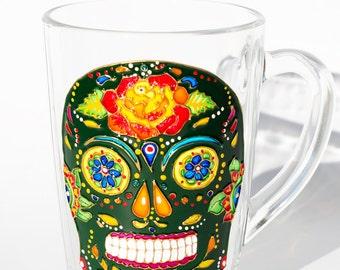 Sugar Skull Day of the Dead Mug, Skull Coffee Mug, Dia de los Muertos