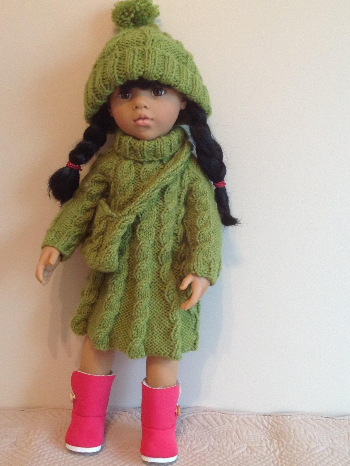 Dolls Fashion clothes knitting pattern. 18 doll. Will