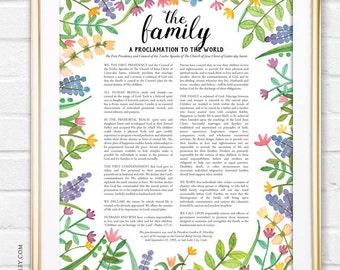 The Family Proclamation to the World- LDS Art Print, Watercolor, Floral Wall Art, Flowers, Hand lettered, Illustration