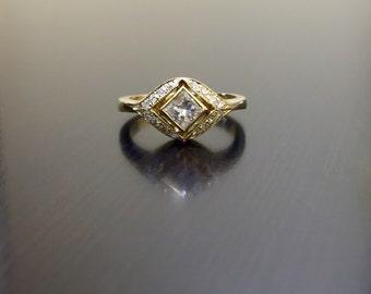 18K Yellow Gold Art Deco Princess Cut Diamond Engagement Ring - Art Deco 18K Gold Diamond Wedding Ring - Princess Cut Ring - Diamond Ring