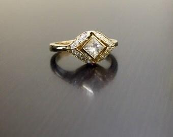 14K Yellow Gold Art Deco Princess Cut Diamond Engagement Ring - Art Deco 14K Gold Diamond Wedding Ring - 18K Halo Princess Cut Diamond Ring