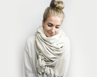 Blanket Scarf, Infinity Scarf, Tassel, Oversized ⨯ The Carrefour ⨯ in LINEN