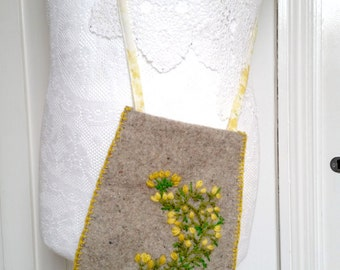embroidered wool hip bag - small messenger pouch - embroidered freeform