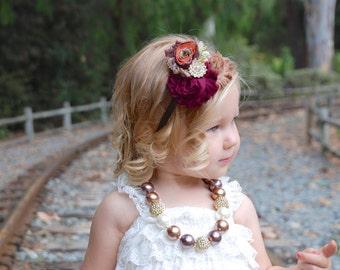 Fall Headband, Baby Headbands, First Thanksgiving,  Autumn Headband, Toddler Headband, Brown Headband, hair bows, Wine Headband