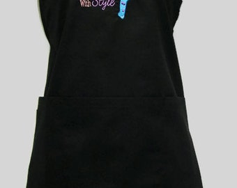 """Personalized Custom Embroidered Beauticians """"Do It with Style"""" Hair Stylist Apron"""