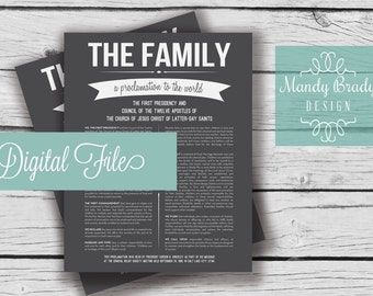 The Family A Proclamation to the World - Digital Printable File, LDS Home Decor, Family Proclamation, Proclamation on the Family, MB102