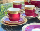Victorian 18 Piece Tea Set 6 Cup Saucer and Plate Trios - Bone China with Soft Ruby Red Glaze Gilded Patterned Band and Gilt Rims Set