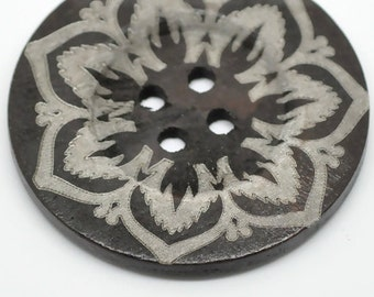 """Extra Large Dark Brown Flower Patterned Wood Button - 2 3/8"""""""