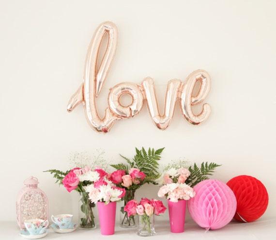 40 Inch Rose Gold LOVE Letter Balloons - Gold Mylar Balloon Letters, Baby Shower Balloon Decor, Bridal Shower Balloon Banner, LOVE Banner