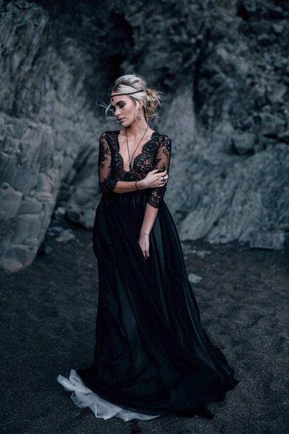 Black Long Sleeve Wedding Gowns