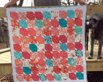 Trapezoidal Colorful Quilt (made to order, available in all sizes)