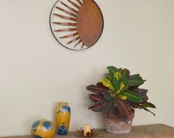 Twelve Ray Sun Metal Wall Sculpture, Wall Decoration, Wall Hanging, Rustic Patina Home Decor, Garden Wall Art  WS1819