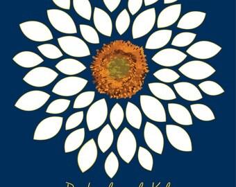 Wedding Guest Book Alternative Bridal Shower Guest Book/Flower GuestBook/ Sunflower/Dahlia/ Personalized Wedding Poster-20x24-- 50 Signature