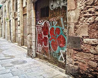 Barcelona Print, Graffiti Art, Street Art, Barcelona Photos, Graffiti Wall Art, Urban Decay, Spraypaint, Rustic Wall Art