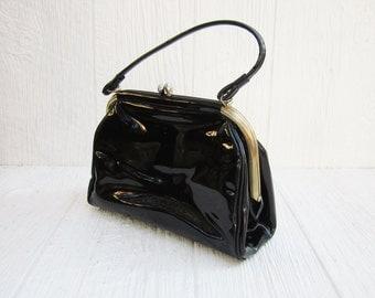 Vintage Black Patent Leather Purse, Black Handbag, Mid Century Purse, Vintage Purse, Mad Men Style