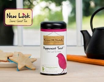 Organic tea, loose leaf, PEPPERMINT TWIST, organic peppermint tea, orange, lemon balm, herbal tisane, iced tea