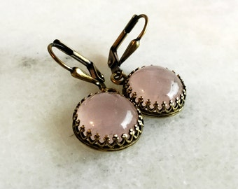 Genuine Rose Quartz Earrings, Vintage Style Brass Jewelry, Round Pink Quartz Stones, Bronze Leverback Earrings, Small Light Pink Gemstones