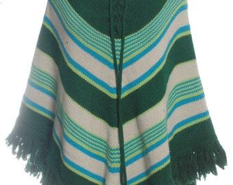 Vintage 1970's Multi Colored Striped Poncho - www.brickvintage.com