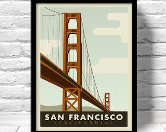 San Francisco poster, California vintage style print, San Francisco Golden Gate, Home decor,  San Francisco view