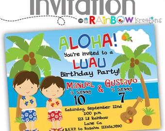 485: DIY - Boys Luau Party Invitation Or Thank You Card