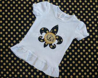 Black and Gold Glitter Saints Fleur de Lis Monogrammed Girls Shirt, Who Dat Shirt, Baby Saints Shirt, Baby Girl Saints, Saints Outfit