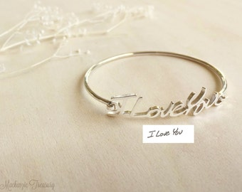 SALE Signature Bangle, Handwriting Bracelet, Personalized Bracelet