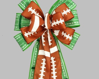 Football Pigskin Field Yard Line Bow -  Football Birthday Decorations, Tailgating Decorations