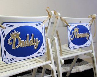 Royal Blue & Gold Prince Theme Daddy-Mommy Chair Signs