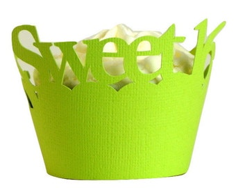 Lime Green Sweet-16 Cupcake Wrappers, Set of 12