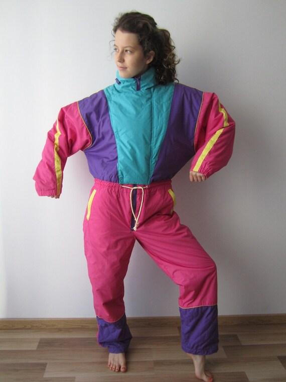 Vintage 80's 90's Ski Suit Colorblock Pink Purple Blue