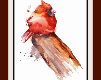 Christmas Cardinal Print, Christmas Bird Watercolor Painting,Bird Art, Cardinal Painting,Animal Illustration,Little Bird Watercolor,Wall Art
