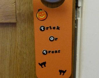 Halloween trick or treat sign door hanger