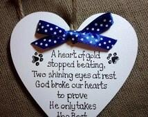 Pet-Cat-Dog Memorial Ornament, funeral, Indoor Handmade Personalised Memorial Heart-Pink/Blue