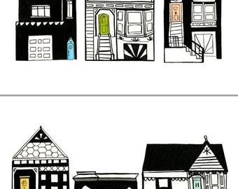 "Two Print Set: ""Row Houses"" Archival Prints by Lindsay Gardner"