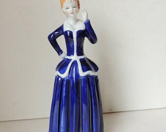 Blue Porcelain Lady Doll Napkin Holder