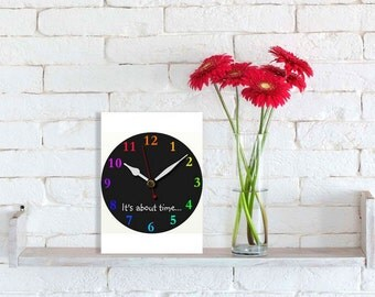 It's about time card, Printable greeting card, DIY greeting card, Printable 5X7 Card, Chalkboard clock card, vertical card, Instant download