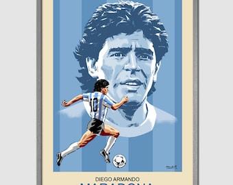 DIEGO MARADONA (Argentina) Portrait Art Print