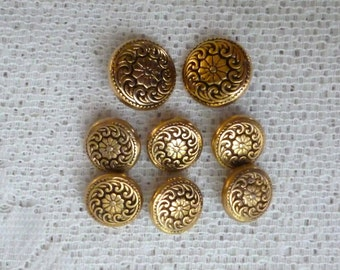 Set of 8 Vintage French Buttons - Gold & Black Metal Buttons