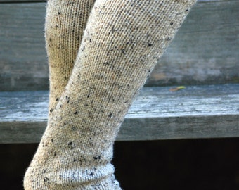 Oatmeal leg warmers with button, hand knit boot socks, hand knit boot cuffs with buttons, boot toppers, boot warmers