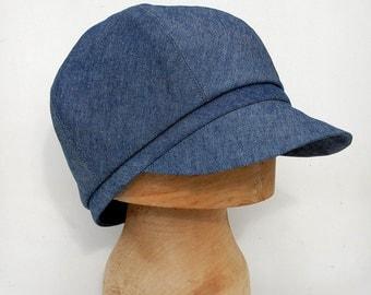 Newsboy cap| Denim cap| French cap|womens newsboy cap| Mens cap|Designer cap| Cotton cap| ZUTjean captains cap in vintage French fabric